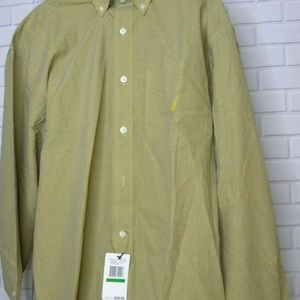 Nautica Yellow Blue Check Button Front Sz Large